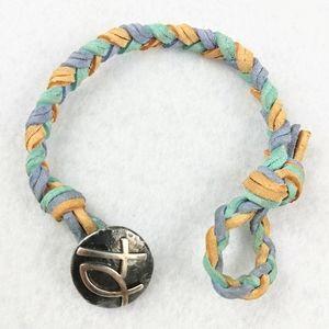 James Avery Braided Leather Cross Ichthus Bracelet
